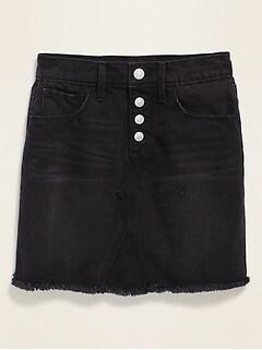 High-Waisted Button-Fly Frayed-Hem Black Jean Skirt for Girls