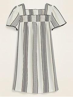 Square-Neck Textured Metallic Stripe Shift Dress for Women