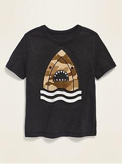T-shirt en tricot grège à imprimé à effets visuels pour tout-petit garçon