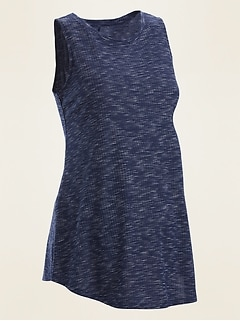 Maternity Space-Dyed Rib-Knit Tunic Tank Top