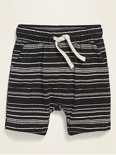 Functional Drawstring U-Shaped Slub-Knit Shorts for Toddler Boys