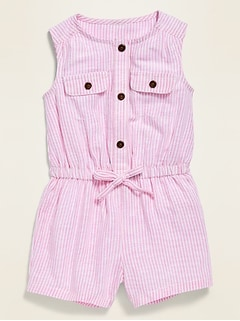 Striped Sleeveless Utility Romper for Baby