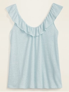 Ruffled Linen-Blend Jersey Tie-Back Top for Women