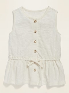 Sleeveless Peplum-Hem Slub-Knit Top for Toddler Girls