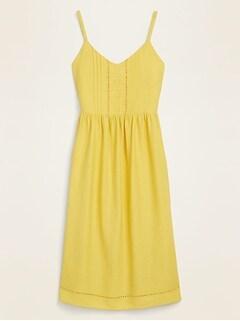 Linen-Blend Crochet-Lace Trim Fit & Flare Cami Dress for Women