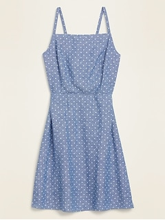 Dot-Print Linen-Blend Fit & Flare Cami Sundress for Women