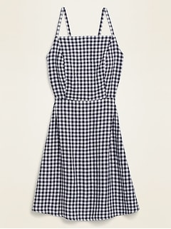 Gingham Linen-Blend Fit & Flare Cami Sundress for Women