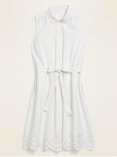 Robe-chemisier mi-longue sans manches en mélange de lin avec ceinture-lien pour femme