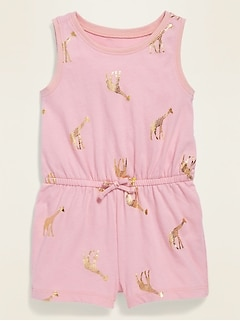 Sleeveless Printed Jersey Romper for Baby