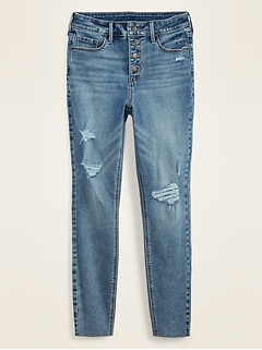 High-Waisted Button-Fly Distressed Rockstar Super Skinny Ankle Jeans for Women