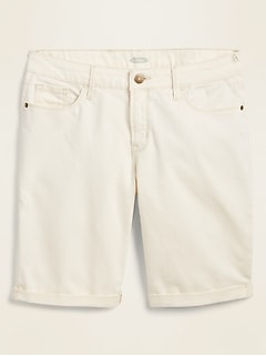 Mid-Rise Off-White Bermuda Jean Shorts for Women -- 9-inch inseam