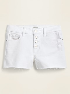 Mid-Rise Button-Fly Boyfriend White Cut-Off Jean Shorts for Women -- 3-inch inseam.