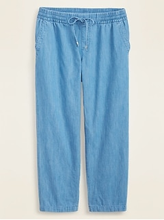 Mid-Rise Chambray Pull-On Pants for Women