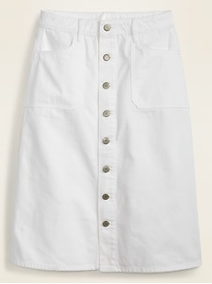 Mid-Rise Button-Front Utility-Pocket White Jean Midi Skirt for Women
