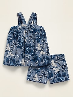 Floral-Print Sleeveless Top and Shorts Set for Toddler Girls