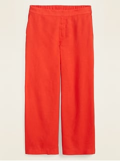 High-Waisted Pull-On Culotte Pants