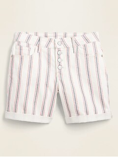 Mid-Rise Button-Fly Multi-Stripe Jean Shorts for Women -- 5-inch inseam