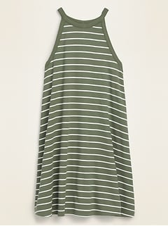 Striped Rib-Knit Sleeveless Swing Dress for Women