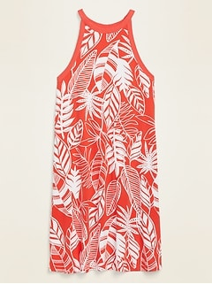 Printed Sleeveless Jersey Swing Dress for Women