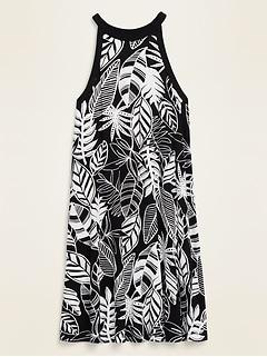High-Neck Printed Jersey-Knit Sleeveless Swing Dress for Women