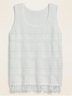 Sleeveless Fringed-Hem Plus-Size Sweater