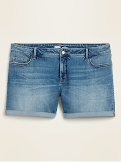 High-Rise Secret-Slim Pockets Plus-Size Jean Shorts -- 5-inch inseam