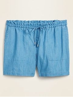 High-Waisted Chambray Plus-Size Pull-On Shorts -- 7-inch inseam