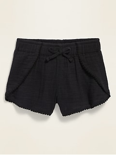 Textured Dobby Tulip-Hem Shorts for Toddler Girls