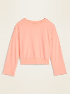 Cropped French Terry Bell-Sleeve Sweatshirt for Women