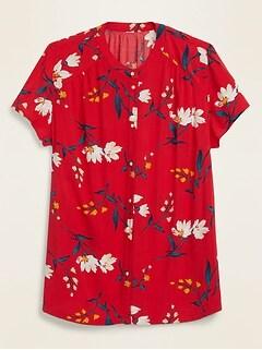 Printed No-Peek Banded-Collar Plus-Size Shirt