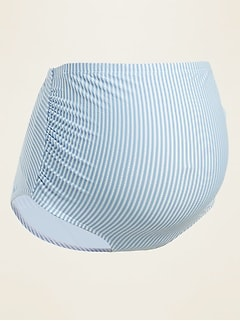 Maternity High-Waisted Seersucker-Stripe Swim Bottoms