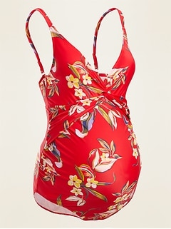 Maternity Floral-Print Twist-Front One-Piece Swimsuit