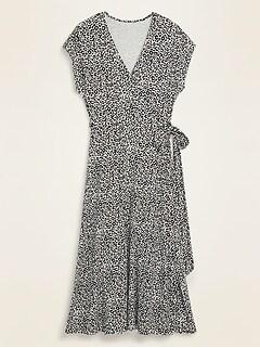 Wrap-Front Dolman-Sleeve Midi Dress for Women