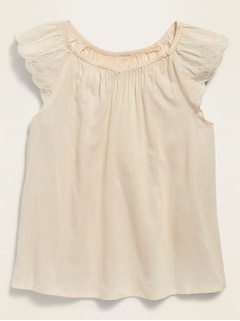 Flutter-Sleeve Embroidered Top for Girls