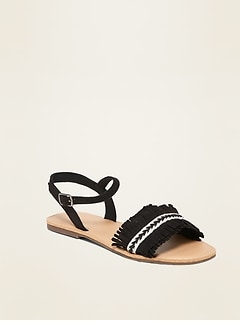Faux-Suede Fringe Sandals for Girls