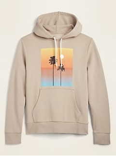 Palm Trees Graphic Pullover Hoodie for Men