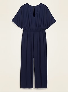 Soft-Woven Smocked-Waist Plus-Size Jumpsuit