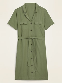 Linen-Blend No-Peek Tie-Belt Plus-Size Shirt Dress