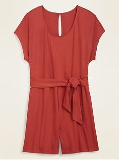 Rib-Knit Tie-Belt Plus-Size Romper