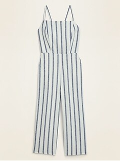 Striped Linen-Blend Cami Jumpsuit for Women