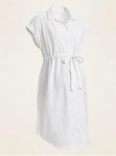 Maternity Linen-Blend Tie-Belt Shirt Dress