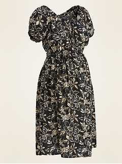 Maternity Floral-Print Waist-Defined Dress