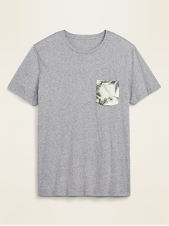 Soft-Washed Printed Chest Pocket Tee for Men