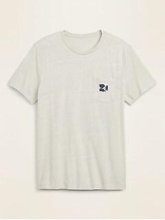 T-shirt à poche en tricot grège à étiquette imprimée pour homme