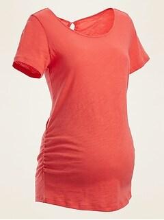 Maternity Slub-Knit Tie-Back Top