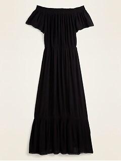 Off-the-Shoulder Crinkle-Crepe Waist-Defined Maxi Dress for Women