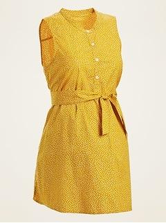 Maternity Dot-Print Sleeveless Tie-Belt Tunic Top
