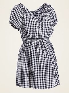 Maternity Gingham Tie-Neck A-Line Top