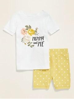 Graphic Pajama Sleep Set for Toddler Girls & Baby