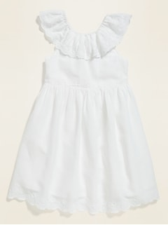 Fit & Flare Embroidered Bow-Back Dress for Toddler Girls